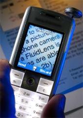 Mobil snímající text se zoomem