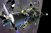 Sestava lunárního, návratového a servisního modulu na oběžné dráze Měsíce