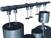 Písty a ventily běžného spalovacího motoru