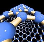Detail modré nanotrubky na černém pozadí