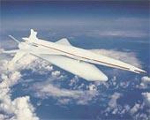 Model nového Concorde na zkušební raketě