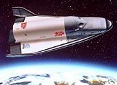 Raketoplán Hermes při letu nad atmosférou Země