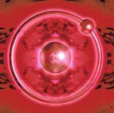 Klasický model atomu vodíku s protonem a obíhajícím elektronem v naivním provedení