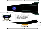 Třípohledový nákres X-43A s rozměry